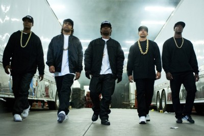 Members of N.W.A. as depicted in the new film 'Straight Outta Compton,' which opened to big audiences and beefed up security at movie theaters last weekend.