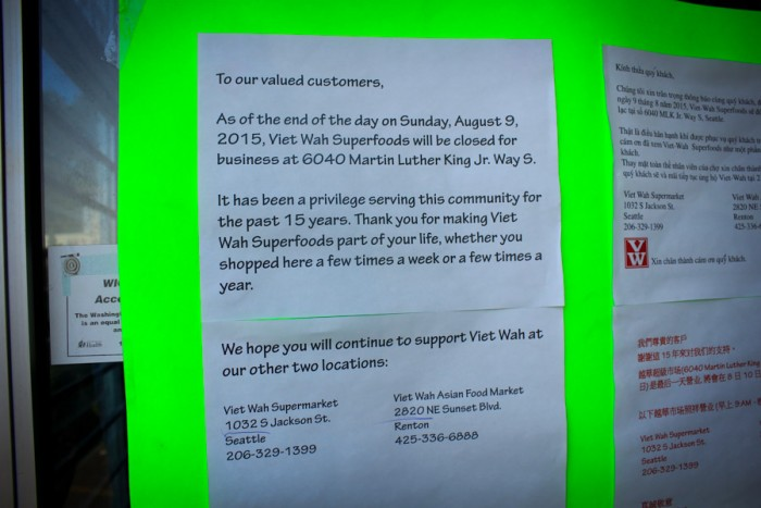 The notice posted on the doors of Viet Wah Superfoods on MLK, explaining that the store would be permanently closed. (Photo by Goorish Wibneh)