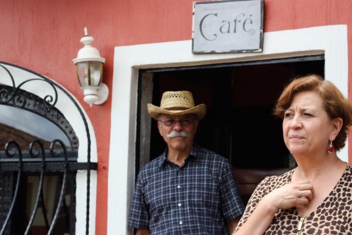 Sahugan de Garcia outside the cafe she owns. (Photo by Alysa Hullett)
