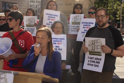 Abby Lawlor said investors and developer build subsidized hotels through the unfair EB-5 program but don't create good jobs. (Photo by Goorish Wibneh)