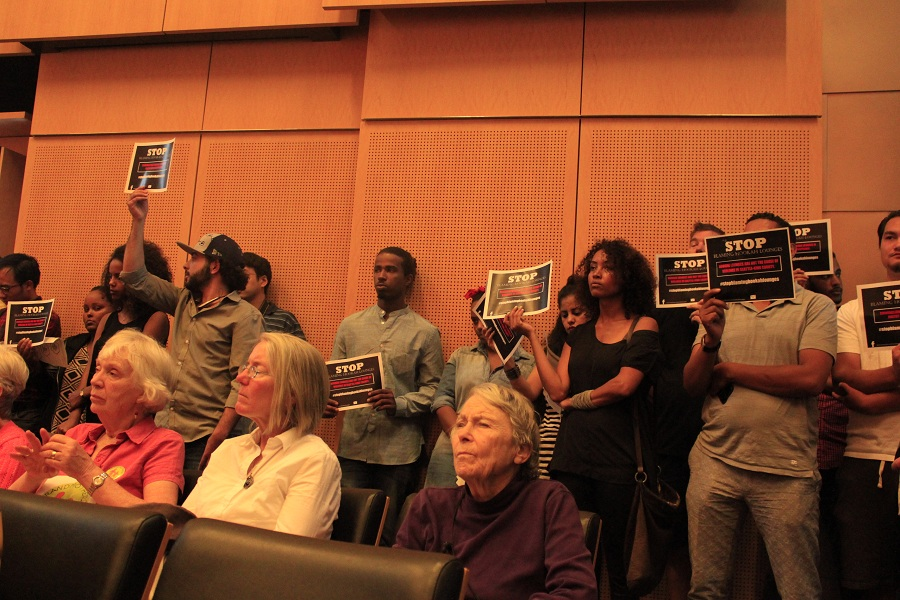 Young protestors of  planned hookah bar bans overflowed City Hall during Public Comment.(Photo by Goorish Wibneh)