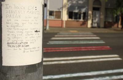 A note that accompanies the crosswalk paint job raises a series of somber concerns.(Photo by Goorish Wibneh)