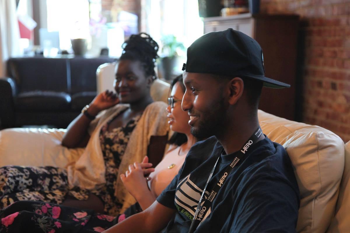 Joy Okot-Okidi, Alia Marsha and Jama Abdirahman reflecting during their June youth apprentice showcase and program graduation held by The Globalist. (Photo by Alex Stonehill)