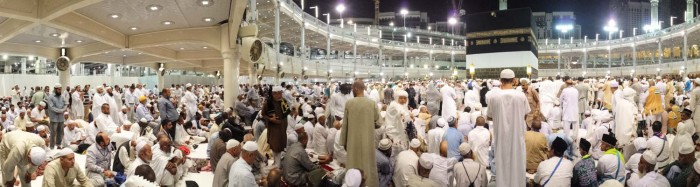 The courtyard at holy mosque in Mecca just before the early morning prayer commences. (Photo by Tariq Yusuf)
