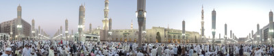 The Prophet's Mosque in Madina, seen right before the early evening prayer. (Photo by Tariq Yusuf)