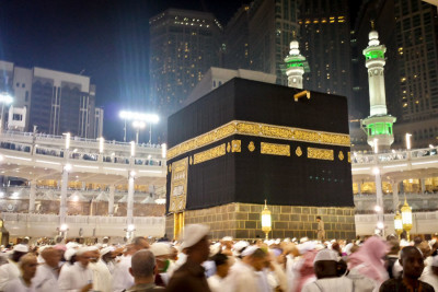 The Kaaba, holiest site in Islam, is circumambulated by worshipers making the Hajj in 2014. (Photo by Tariq Yusuf)