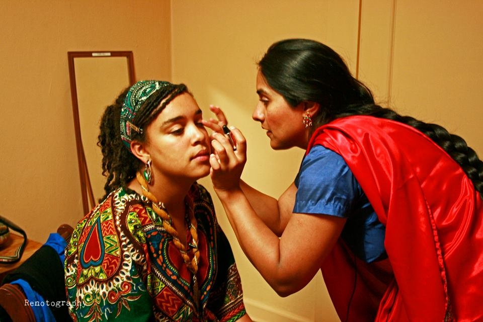 "Joshi Fixes Tekola's make up for the Town Hall event.(Photo by Michael ""Renaissance"" Moynihan)"