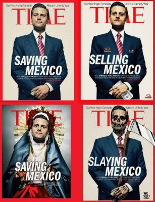 A compilation of spoofs of the Feb. 2014 Time Magazine cover touting President Enrique Peña Nieto's reforms.