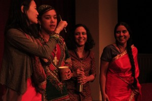 A the end of WOC Speak Out event at Town Hall: From left to right, Yu, Tekola, Sopariwala and Joshi.(Photo by Goorish Wibneh)