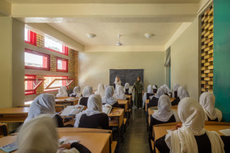 A classroom in the Gohar Khatoon Girls' School in Mazar-i-Sharif, Afghanistan, designed for natural daylight and ventilation. (Photo by Nic Lehoux)