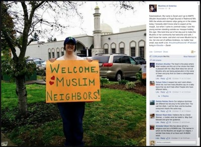 This photo of Chris Welton showing her support outside MAPS in Redmond went viral and resulted in her recieving thousands of positive email messages.