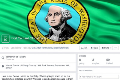 """Facebook event page for the """"Port Orchard Rally for Global Humanity."""""""