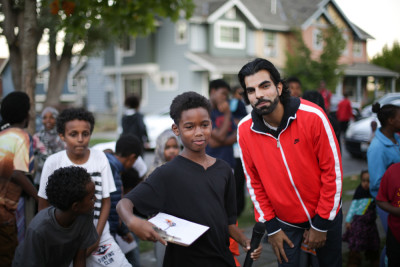 Jamil Suleman stands by as his students get organized.