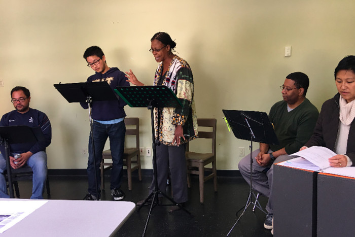 "The cast rehearsing ""The Brothers Paranormal."" From left to right, Manual Cawaling, Kevin Lin, Selena Whitaker-Paquiet, Bob Williams and Mariko Kita. Not shown: Anna Saephan. Photo courtesy of Pork Filled Productions."