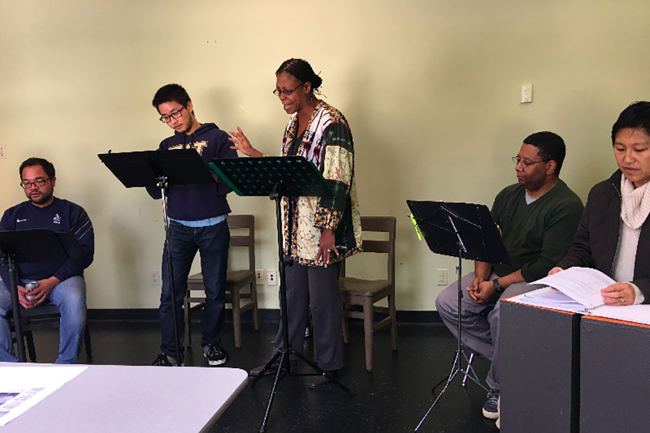"""The cast rehearsing """"The Brothers Paranormal."""" From left to right, Manual Cawaling, Kevin Lin, Selena Whitaker-Paquiet, Bob Williams and Mariko Kita. Not shown: Anna Saephan. Photo courtesy of Pork Filled Productions."""