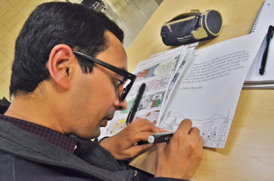 Comic Artist Krish Raghav adds color to a sketch that he plans to submit to the upcoming comic festival, Short Run. Having lived and traveled in cities around the world, Raghav narrates his travels and gives journalistic insight into the everyday lives within different cities in his comics. (Photo by Varisha Khan)