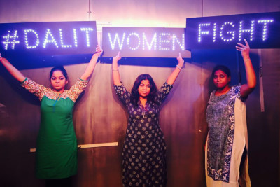 Members of the #DalitWomenFight tour, from left, Anjum Singh, Sanghapali Aruna Lohitakshi and Asha Kowtal. The tour, which is raising awareness of caste-based violence and rape in India, made two stops in Seattle last week. (Courtesy photo)