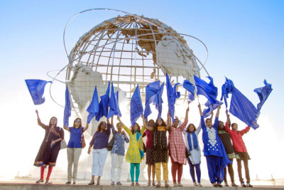 The full #DalitWomenFight delegation delegation at the Queens Museum during their visit to New York. (Courtesy photo)