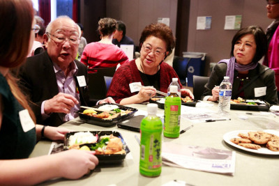 Tomio Moriguchi, left, Bettie Luke and Gail Nomura attend a luncheon for the nonprofit Densho at the Wing Luke Museum last month. (Erika Schultz / The Seattle Times)