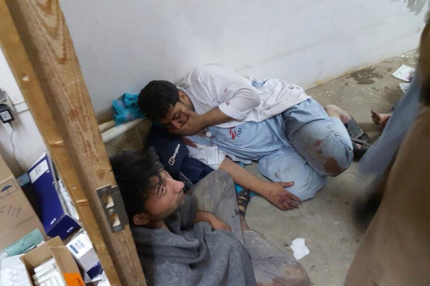 Afghan staff react inside a a Doctors Without Borders hospital after an air strike in the city of Kunduz, Afghanistan. (Photo via Doctors  Without Borders.)