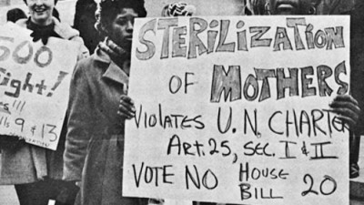 "Women protesting the ""Sterilization of Mothers"" in 1971. (Photo from Southern Conference Educational Fund)"