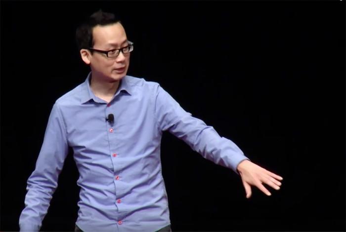 "Screenshot of Prince Gomolvilas' Tedx talk, ""Mind the Gap"" at Chapman University in Orange County, Calif."