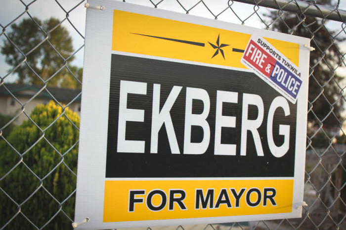 Allan Ekberg and De'Sean Quinn are vying to be mayor of Tukwila in a race that's seen a lot of sniping over campaign signs, but not enough substantive talk about representation. (Photo by Goorish Wibneh)