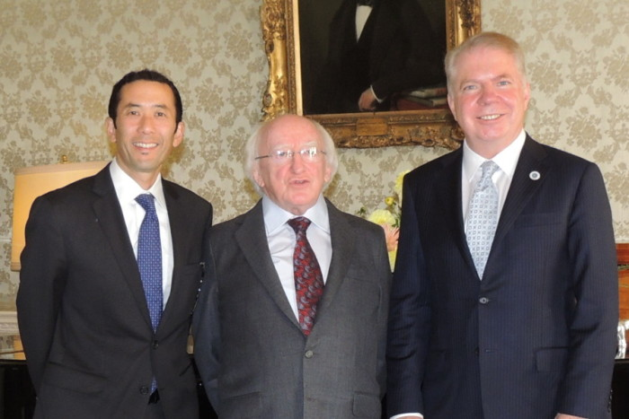 Irish President Michael D. Higgins center will visit Seattle this week. Seattle Mayor Ed Murray right and Seattle First Gentleman Michael Shiosaki left were among a Seattle delegation that visited Ireland last year. Photo by City of Seattle.
