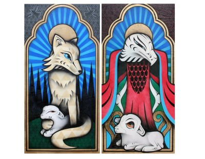 """""""Father Coyote"""" (left) and """"Sister Eagle"""" (right) were created by artist Louie Gong to portray the complicated relationship between the church and Native people. (Photos courtesy of Louie Gong via Eighth Generation)"""