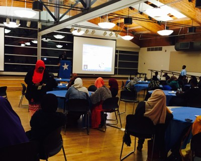 East African community members meet at the New Holly Gathering Center to discuss the issue of the generation gap. (Photo courtesy of Ubah Warsame)