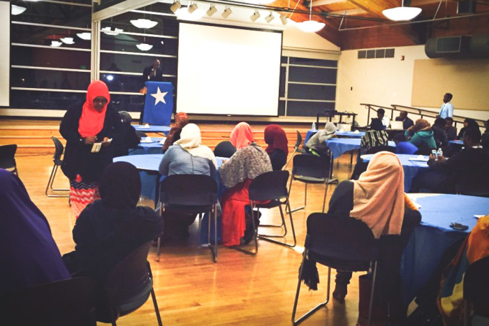East African community members meet at the New Holly Gathering Center in an event aimed to get adults and youth talking to each other. (Photo courtesy of Ubah Warsame)