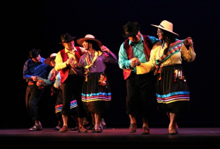 Dancers of Grupo Violeta Parra, a Chilean dance group formed in Seattle, take the stage at Moore Theater. (Photo by Jane Koh)