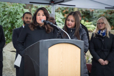 Lorena Gonzalez at a press conference at Seattle Center, before being sworn in to the Seattle City Council. (Photo by Alex Garland)