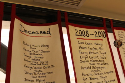 A tapestry displayed at the Chief Seattle Club lists deceased members. The CSC is a 501(c)(3) that provides support to low-income and homeless Native people. (Photo by Starla Sampaco)