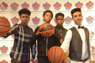 A group of boys pose at a photo booth at the Companion Athletics Fall Banquet. (Photo courtesy of Companion Athletics)