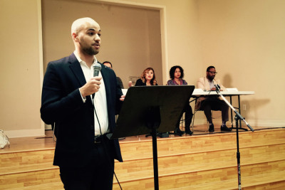 """""""We need to start small and think big,"""" organizer Michael Charles said, emphasizing get out the vote efforts for 2016. (Photo by Laura Bernstein)"""
