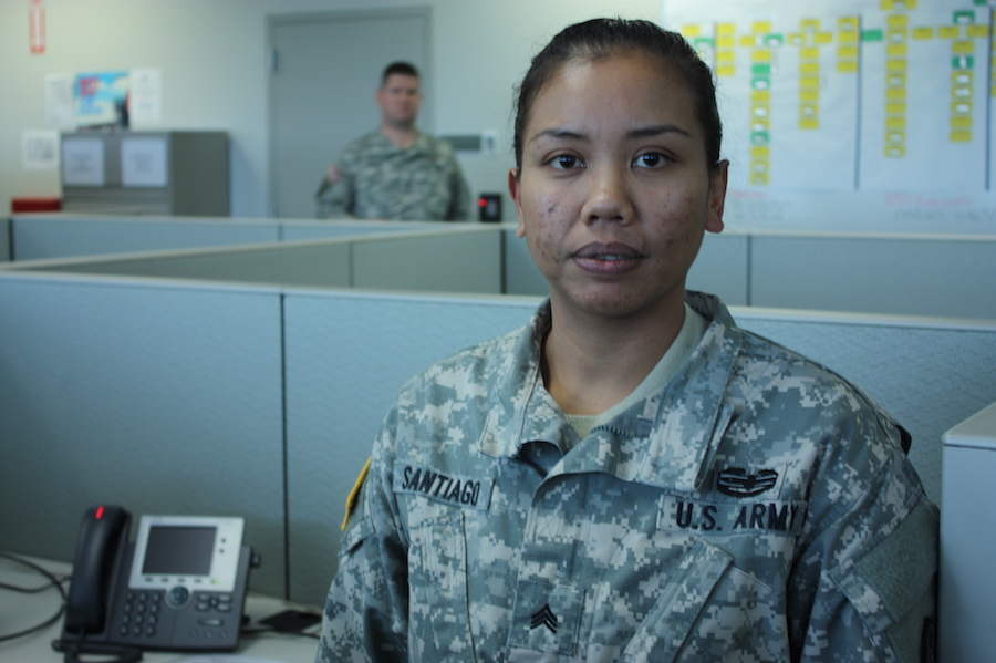 Sgt. Mutiara Santiago is a sergeant in the U.S. Army Reserve in Marysville, Washington. She was deployed twice to Iraq during the War on Terror over the course of 11 years of active duty. (Photo by Kayla Roberts)