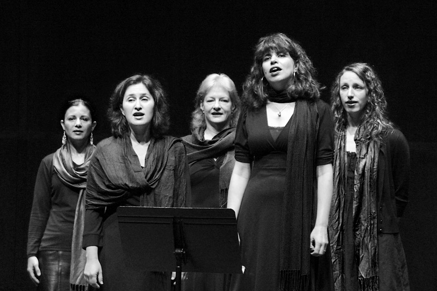 Dina Trageser, second from right, leads Dunava, a Bulgarian folk singing ensemble. (Photo by Steve Borzilleri)