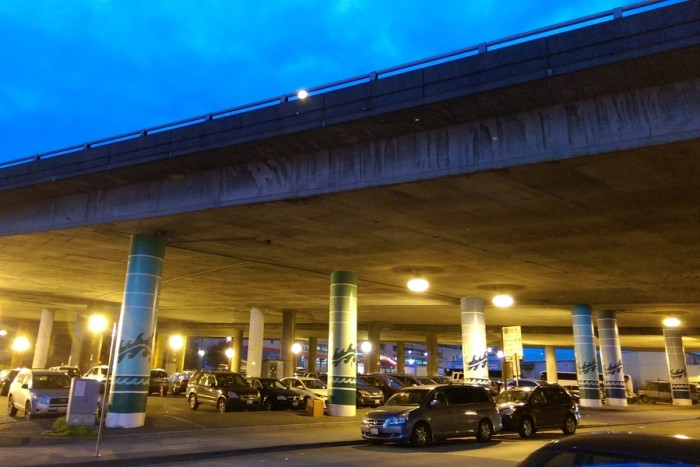 Underneath the I-5 bridge, dividing the East and West precincts, is an encampment hotspot. (Photo by Sidney Sullivan)