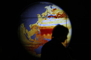 A woman walks past a map showing the elevation of the sea in the last 22 years during the World Climate Change Conference 2015 (COP21) at Le Bourget, near Paris, France, December 11, 2015.  (Photo by Stephane Mahe for Reuters.)