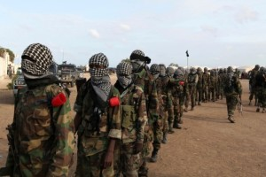 Members of al Shabaab parade at Ala Yaasir camp, outside of Somalia's capital Mogadishu, September 3, 2011. (Photo by Feisal Omar for Reuters.)