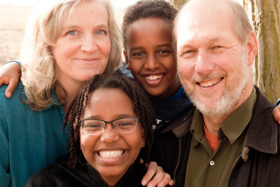 Nancy Carroll, with her husband Brad Wakeman and the two children they adopted from Ethiopia in 2007. (Courtesy photo by Janet Klinger)