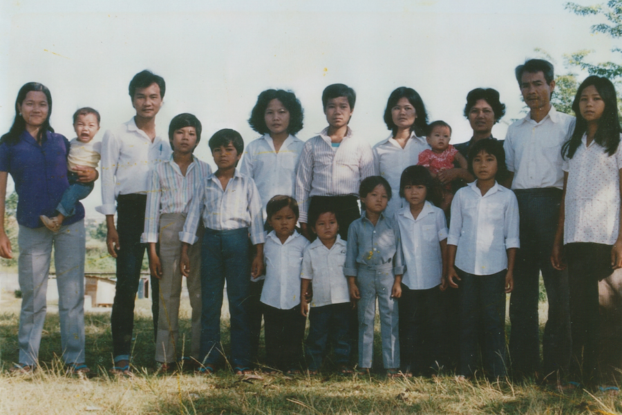 The Thach family at a refugee camp in Sungai, Malaysia in 1986. The Thach family is Khmer Krom, indigenous Khmer people from the village of Tra Set in Soc Trang province in southern Vietnam, formerly part of the Khmer Empire.  (Photo courtesy of Tey Thach)