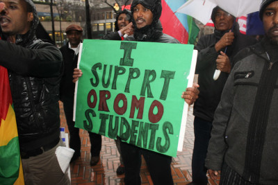 Demonstrators gathered outside the Federal Building asking the U.S. government to apply diplomatic pressure on Ethiopia to end the crackdown on protests. (Photo by Goorish Wibneh)