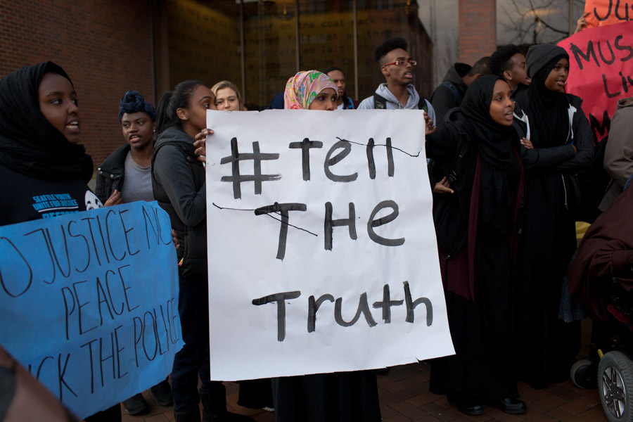 Students and community members marched from Seattle Central College to the Seattle Police Department East Precinct to protest the way the department handled the death of Hamza Warsame, who died after a fall from a Capitol Hill building. (Photo by Jovelle Tamayo.)