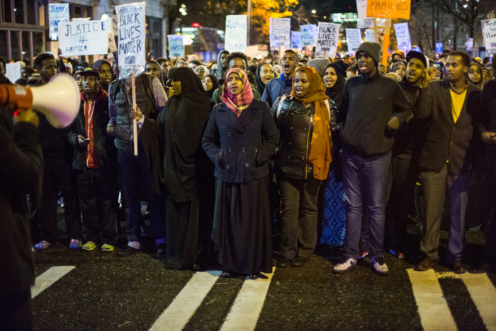 Students and community members organize at Seattle Central College for the death of Hamza Warsame, Dec 9. (Photo by Jama Abdirahman.)