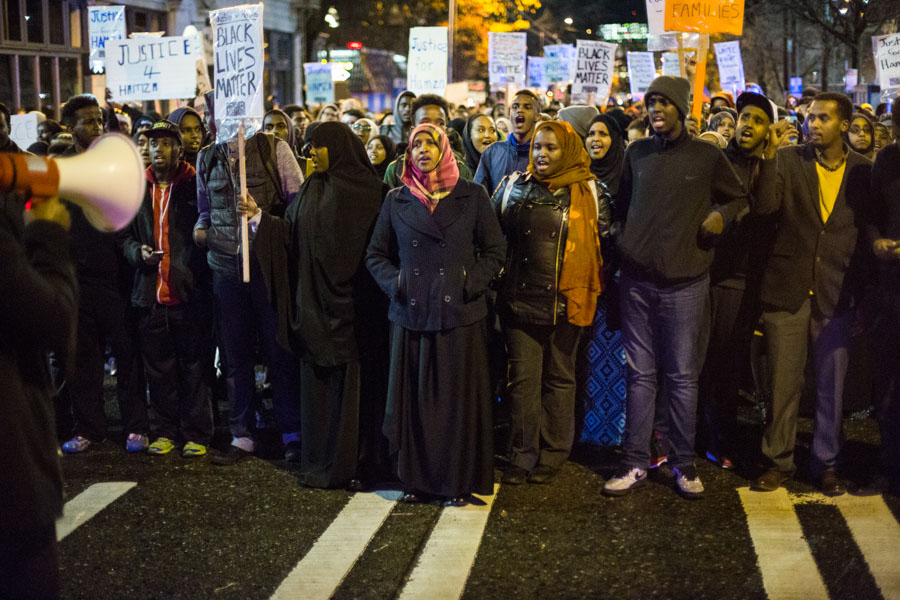 ​Students and community members organize at Seattle Central College for the death of Hamza Warsame, Dec 9. (Photo by Jama Abdirahman.)