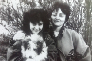 Irina Vodonos, her mother and their family dog in May 1994, several months before Vodonos and her father became the first in their family to move to the U.S. The rest of the family followed two years later. (Photo courtesy Irina Vodonos.)