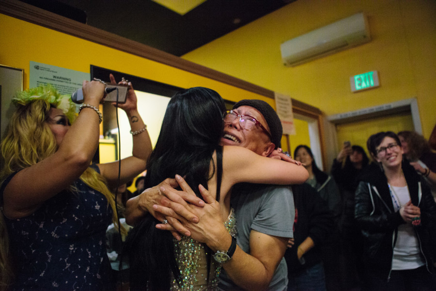 Ernie Rios, the owner of Inay's Asian Pacific Cuisine, embraces Atasha Manila on Jan. 29, 2016 at her final Friday night drag show on the restaurant's closing day. Photo by Jovelle Tamayo.