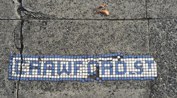 Crawford street mosaic: Circa 1905 Mosaic, 20th Ave NW at NW 59th St, Ballard neighborhood, Seattle, WA. (Photo by Benson Shaw)